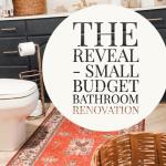 red rug and blue bathroom vanity