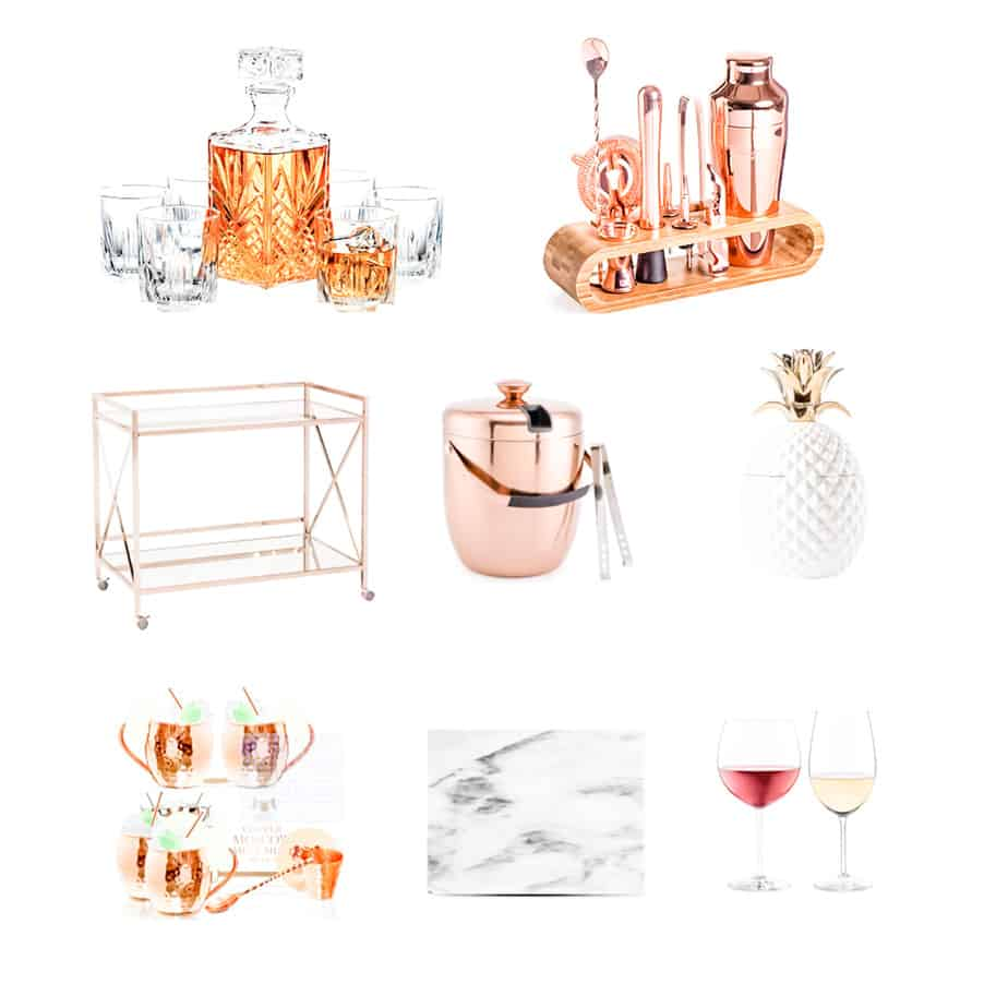Bar cart essentials such as ice bucket, wine glasses, bar cart tools.