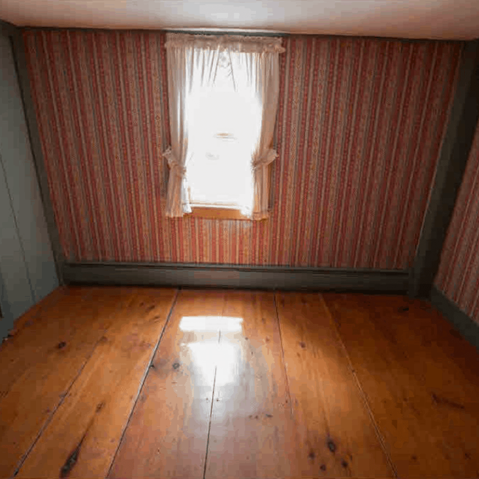 Red wallpaper and wide plank flooring  and nothing else in the room.
