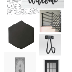 farmhouse enryway design. black hexagon tile, metal stairway, and leaf wallpaper