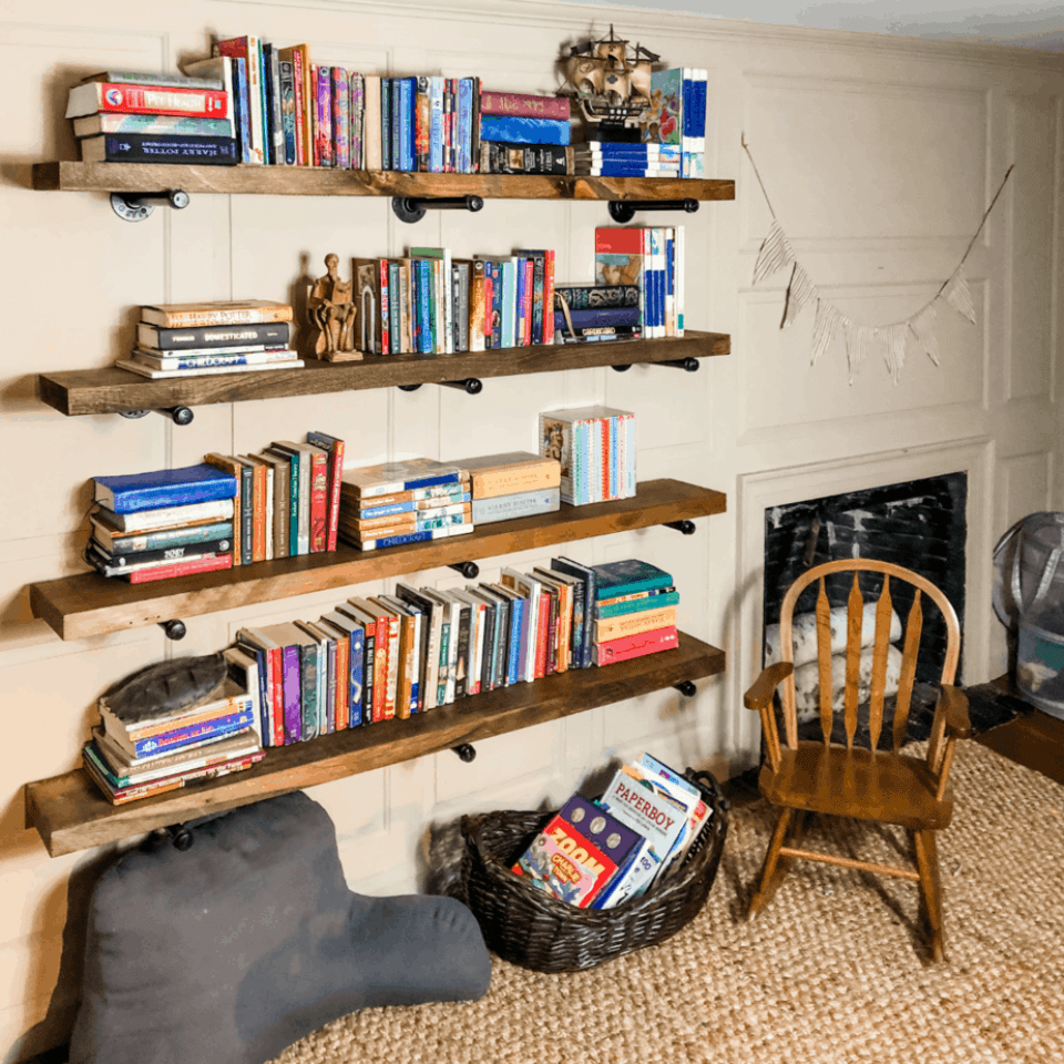 large bookshelf with colored books