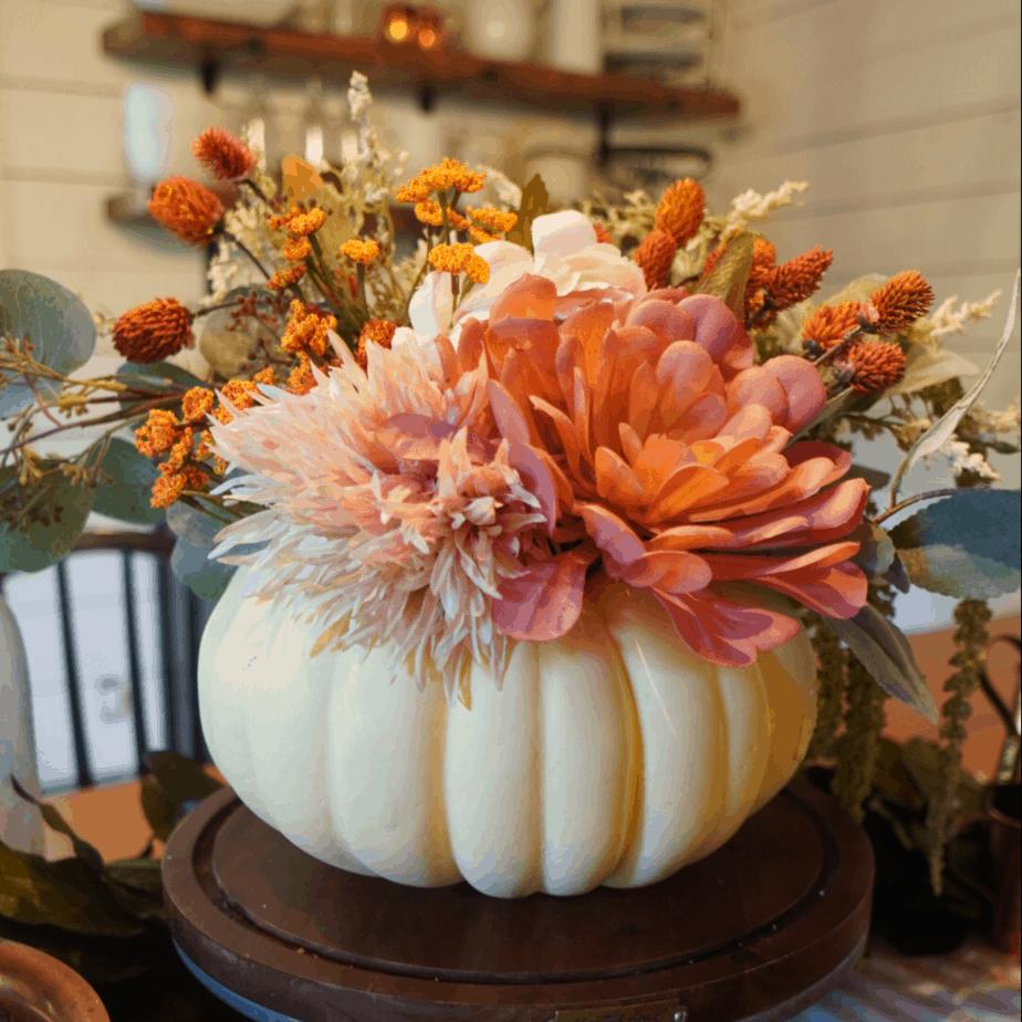 Easy DIY floral pumpkin centerpiece