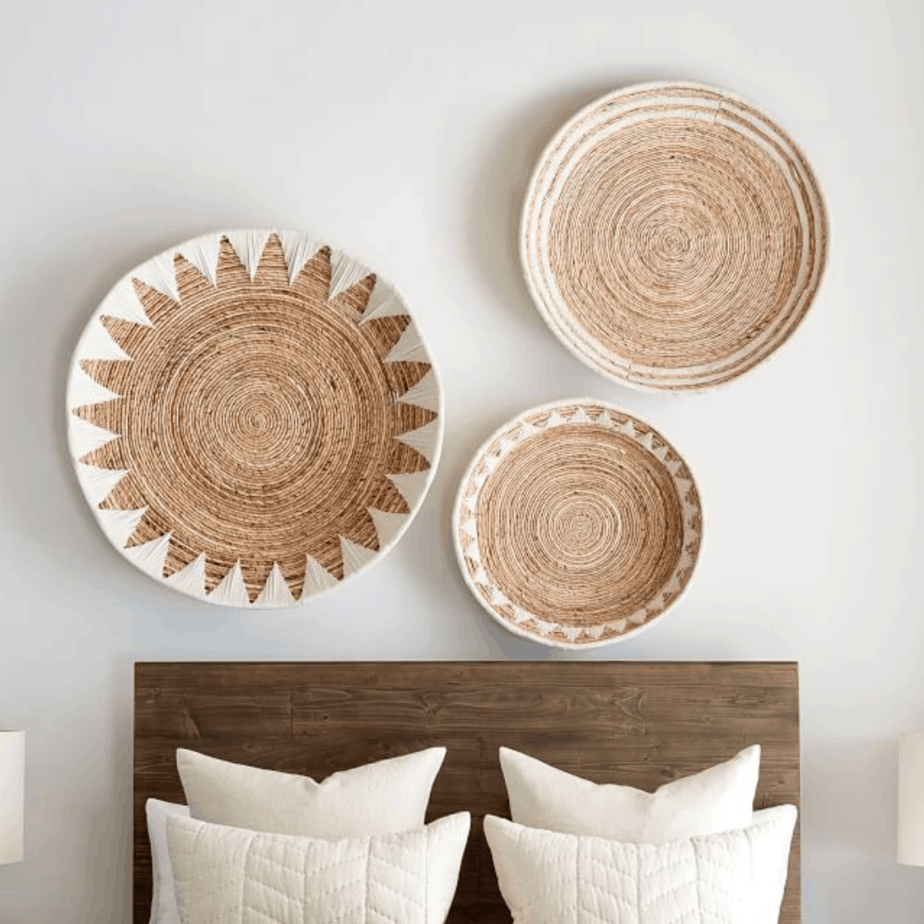 woven basket wall with three baskets