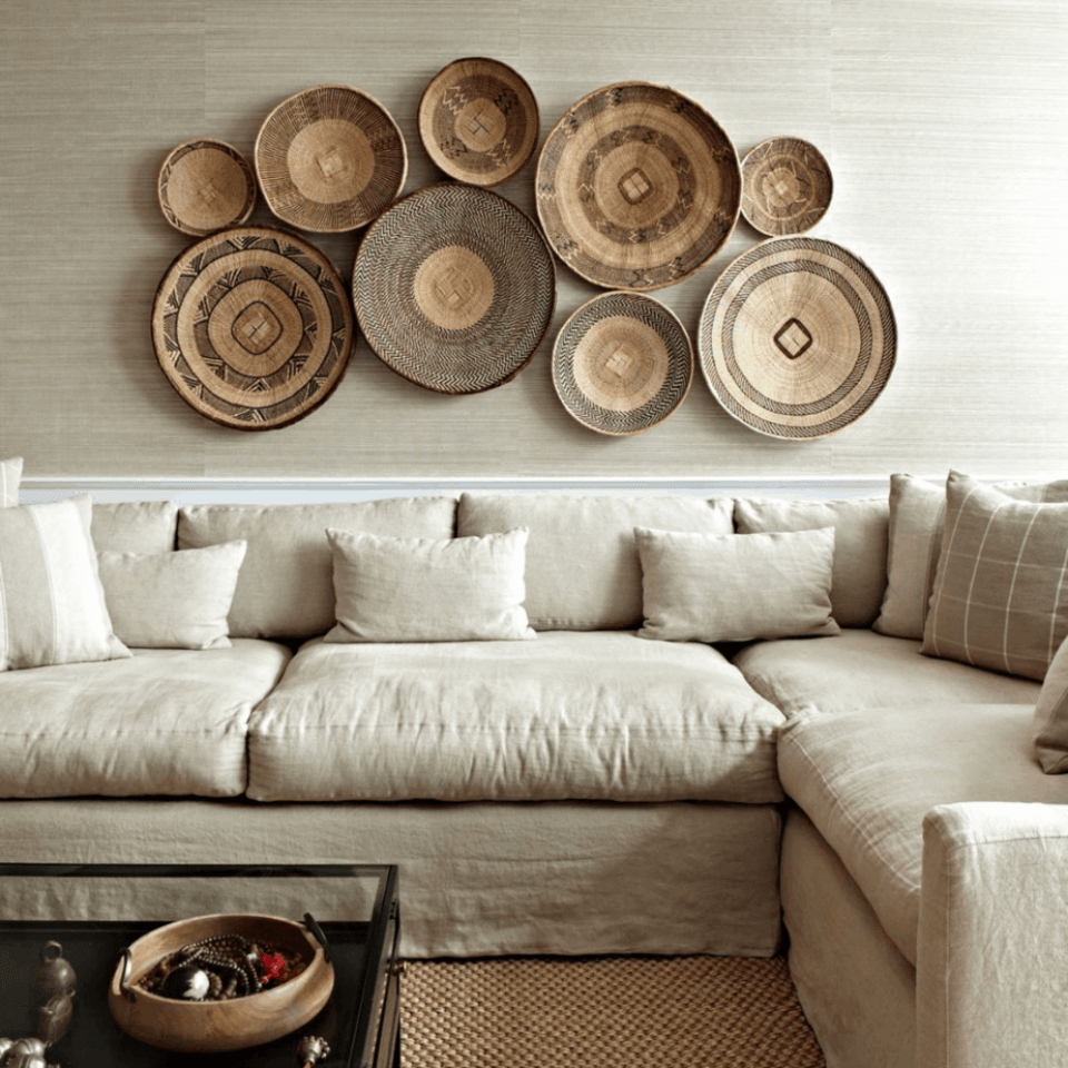 basket wall over linen sectional sofa