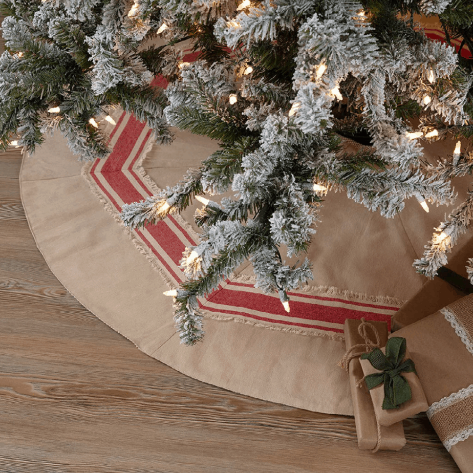 burlap Christmas tree shirt with red strip