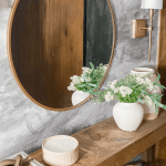 Easy Entryway styling, gold round mirror with table top decor with vases and candle