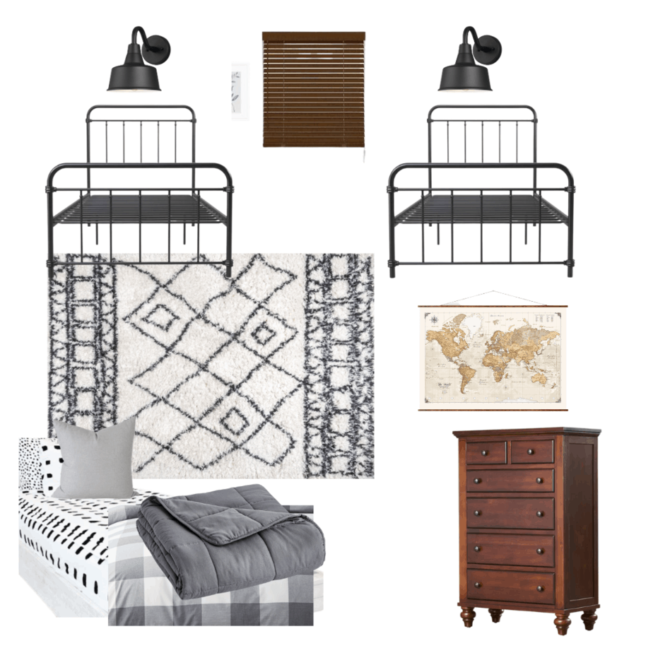 Boys shared bedroom design plan and update