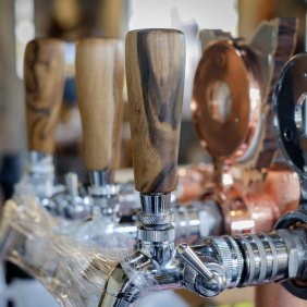 As well as coffee and wine, The Farm Shed East Coast Wine Centre at Bicheno, Tasmania has Willie Smith's cider, Ironhouse beer and Vestal spa