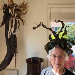 Helen Edwards modelling one of her kelp creations, available now at The Farm Shed