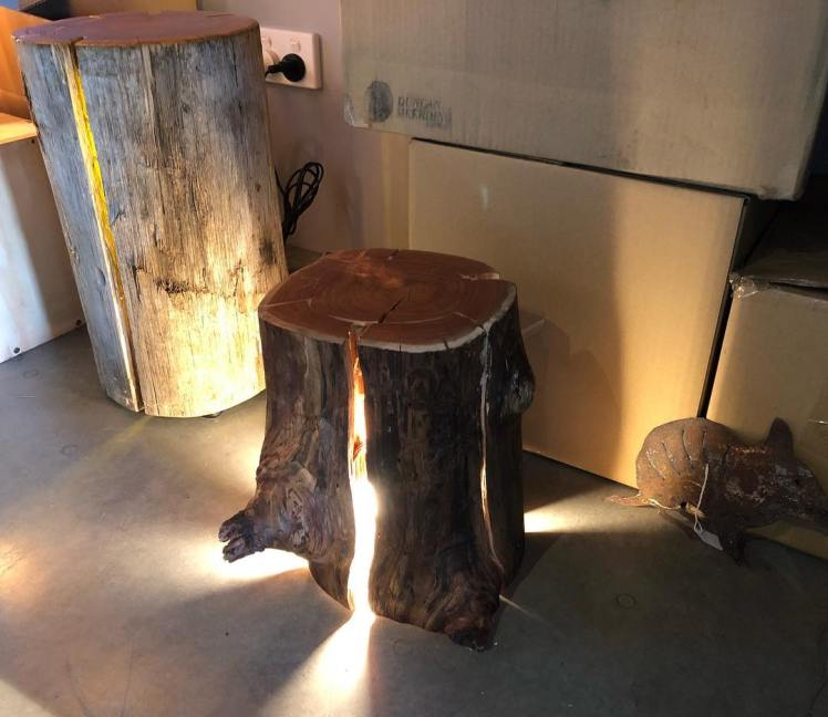 Duncan Meerding's log and Stump lamps are back in stock at the The Farm Shed