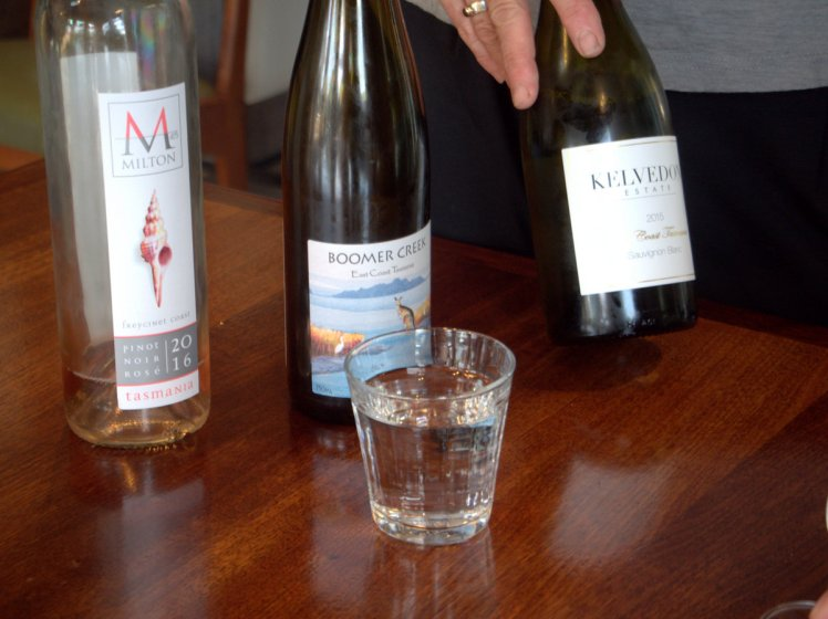 A tasting of Tasmania's East Coast region wines in progress at The Farm Shed Wine Centre at Bicheno, Tasmania