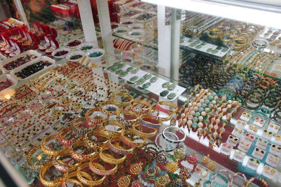 Jewellery for sale in Thailand at a temple on the border of Myanmar.