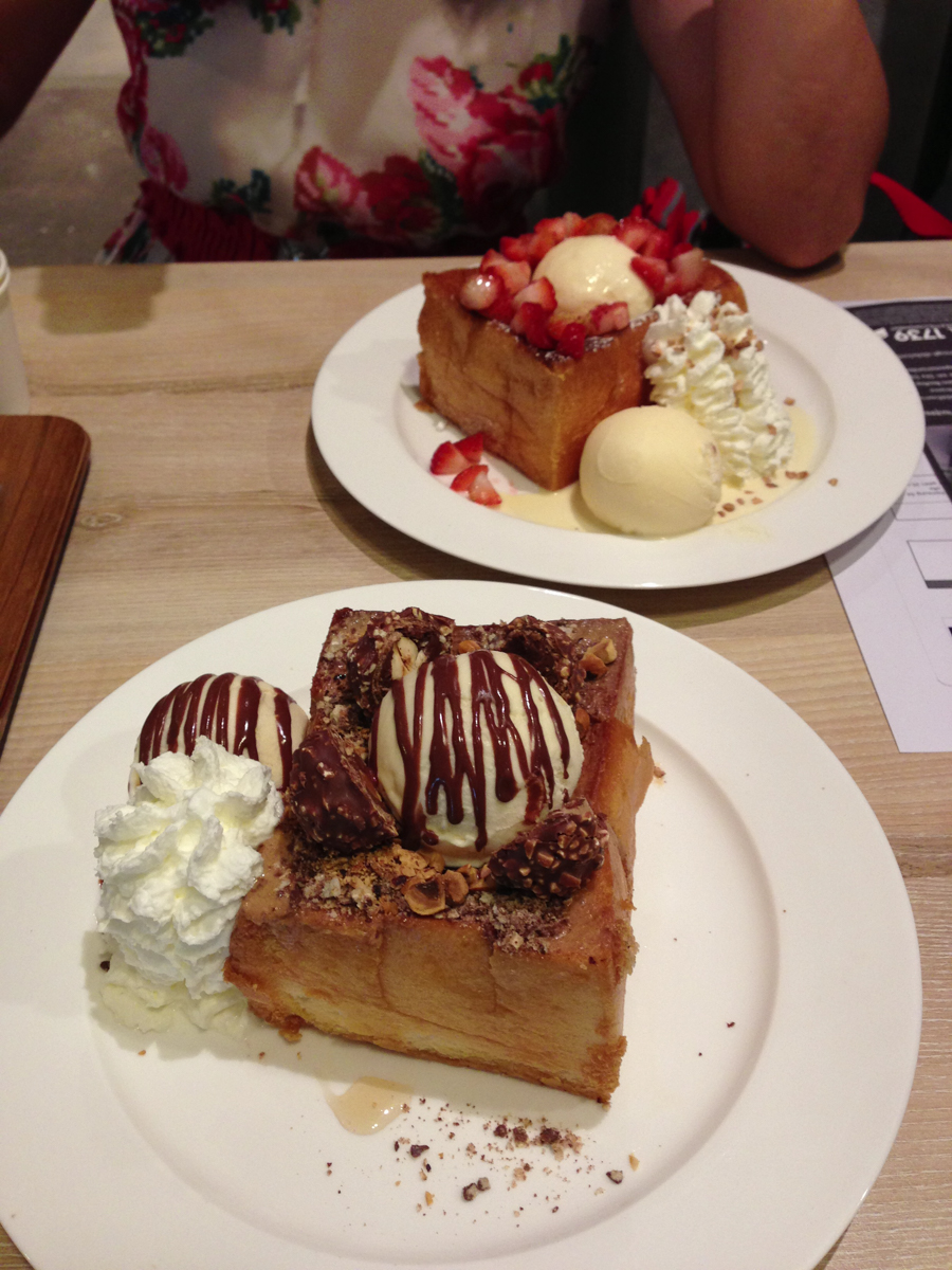 After You Cafe in Bangkok. Shibuya honey toast, Ferrero Rocher & Strawberry.
