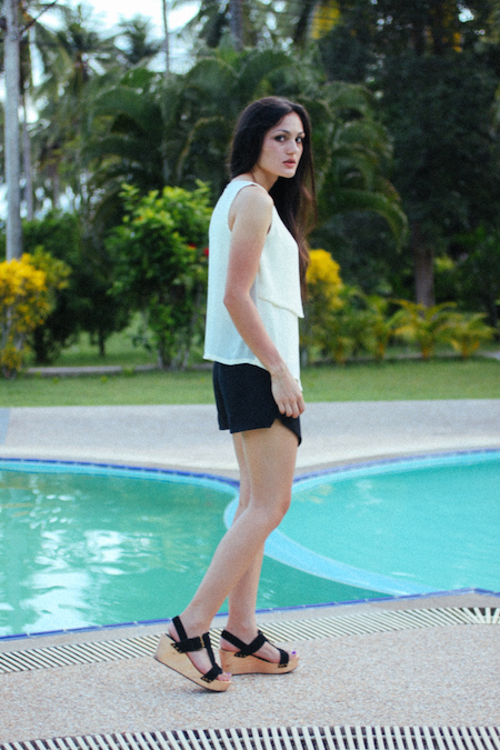 Thailand beach resort. Crossover blouse & ZARA skort.