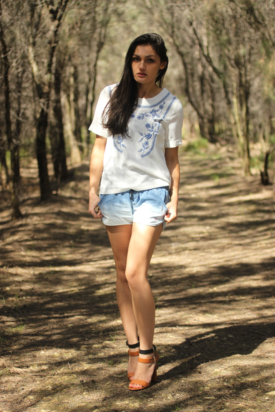 Ombre denim shorts & embroidery top.