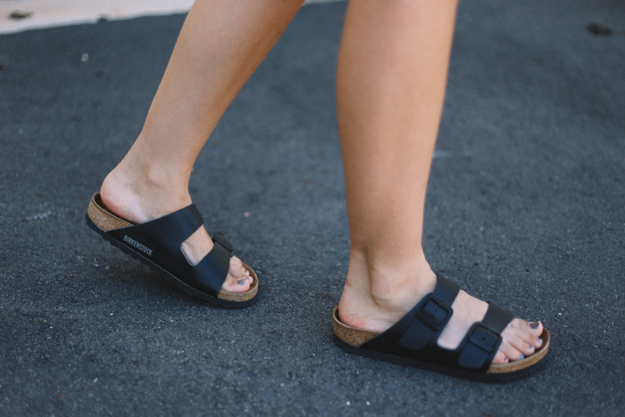 Black Birkenstock Arizona sandals.