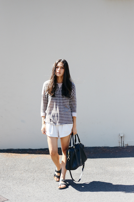 Brown breton stripe top with Birkenstock Arizona sandals. Minskat Copenhagen Mira bag.