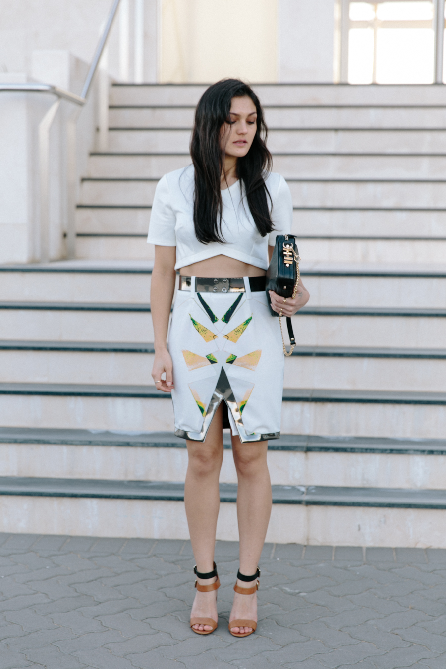 Ixiah Oracle statement skirt. Asos white scuba crop top. Dylan kain Rodriguez bag.