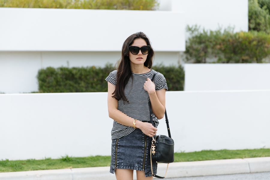 ZeroUV sunglasses, Pop Basic stripe tee, FATE skirt, Dylan Kain Rodriguez bag.