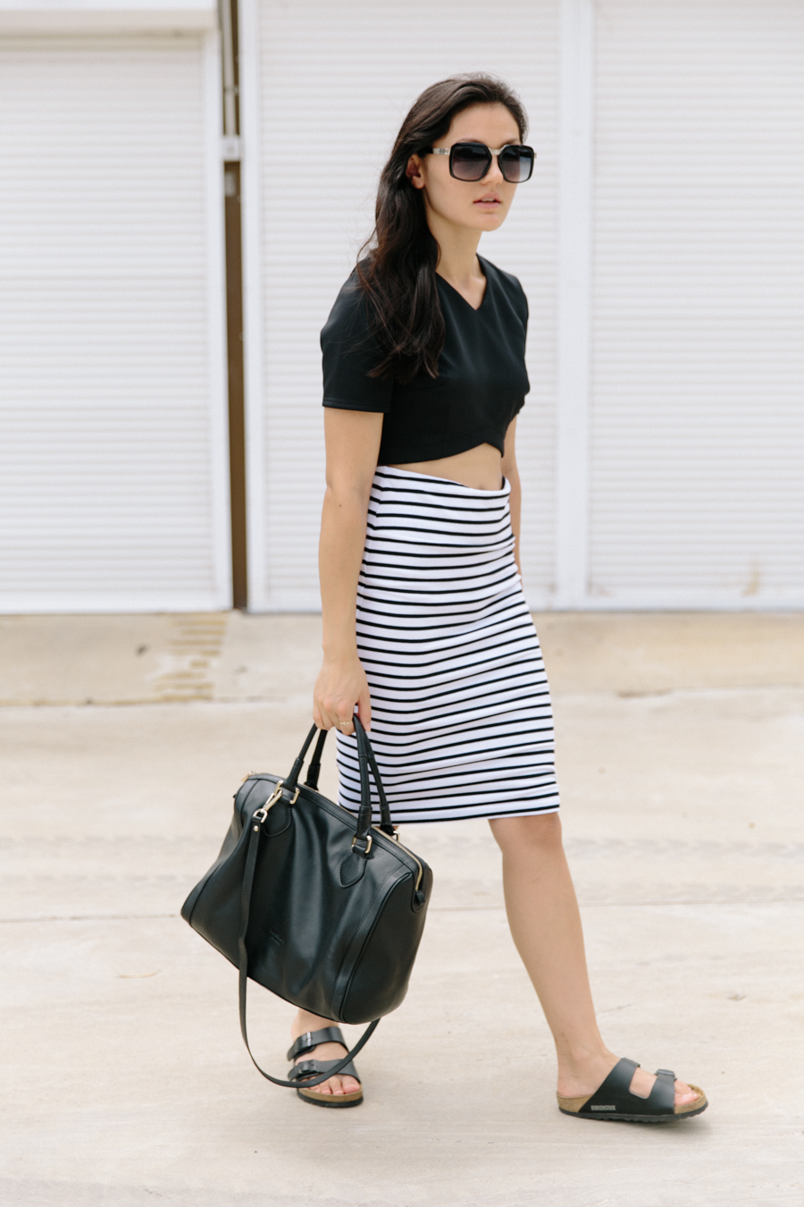 Minimalist fashion blogger. Striped pencil skirt. Birkenstock sandals.
