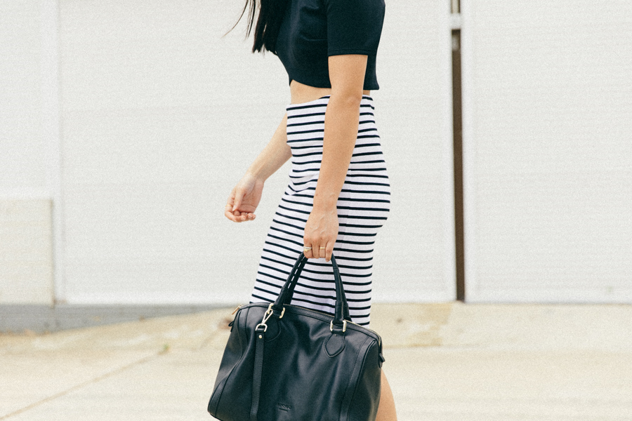 Stripe pencil skirt, black Birkenstock.