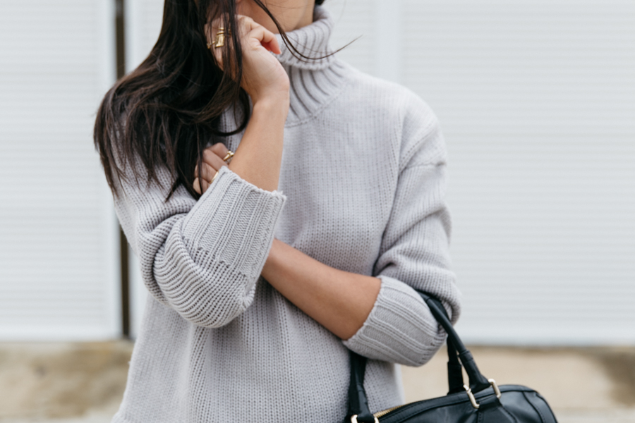 Grey roll neck sweater from Style Moi.