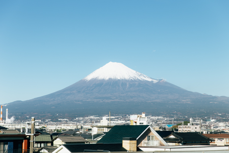 View of Mount Fuji from the Shinkansen.