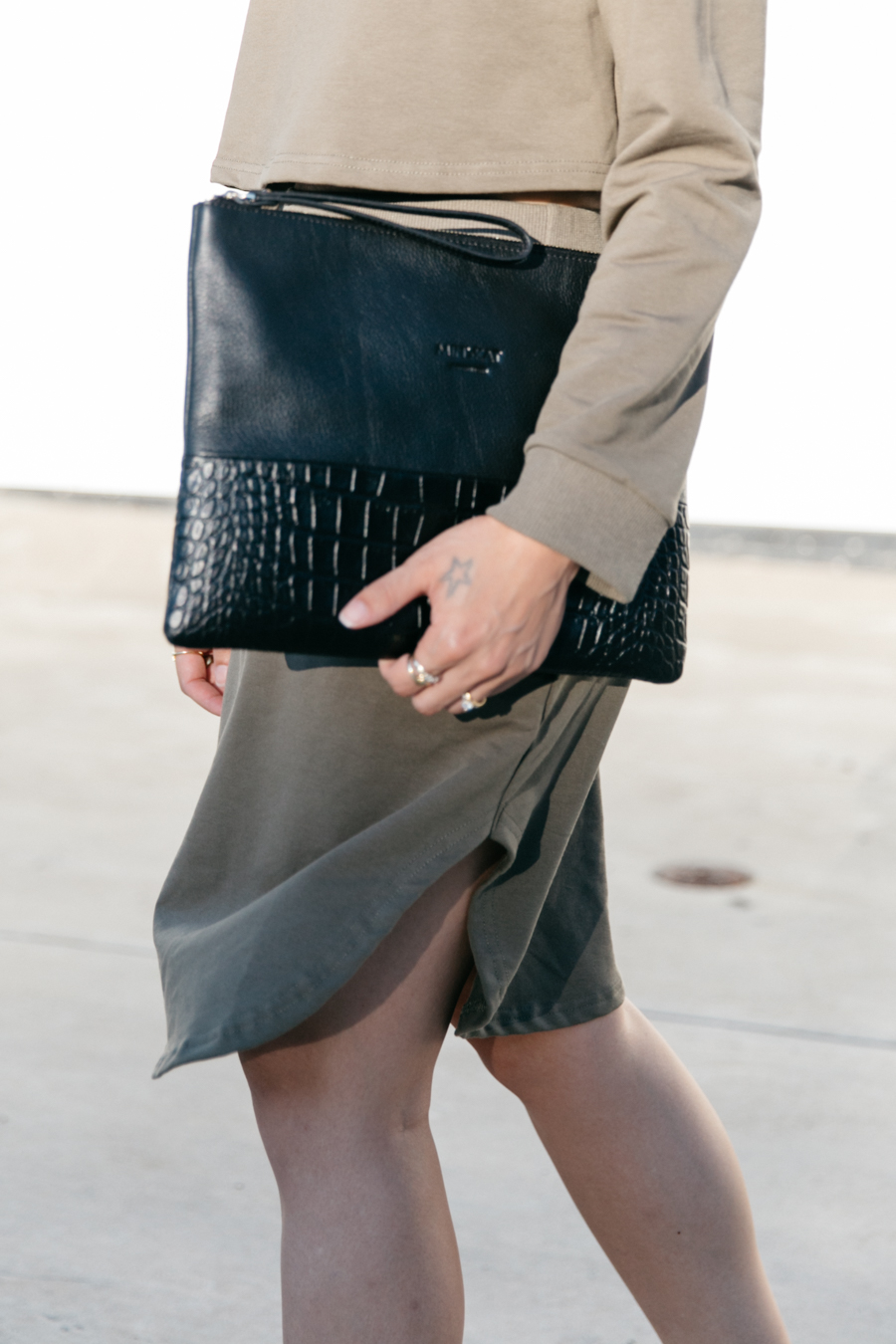 Black leather clutch from Danish design brand Minskat Copenhagen.
