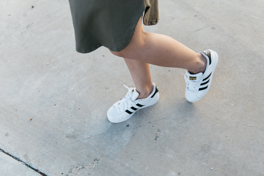 Adidas Superstar sneakers outfit.