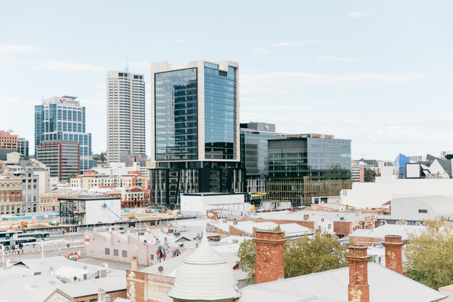 Perth city skyline from Northbridge.
