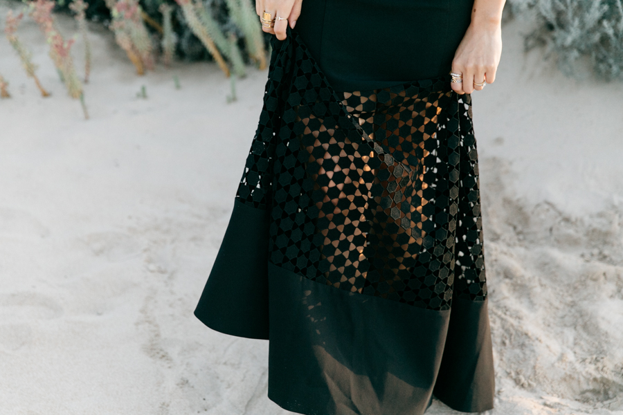 Black lace fishtail dress.