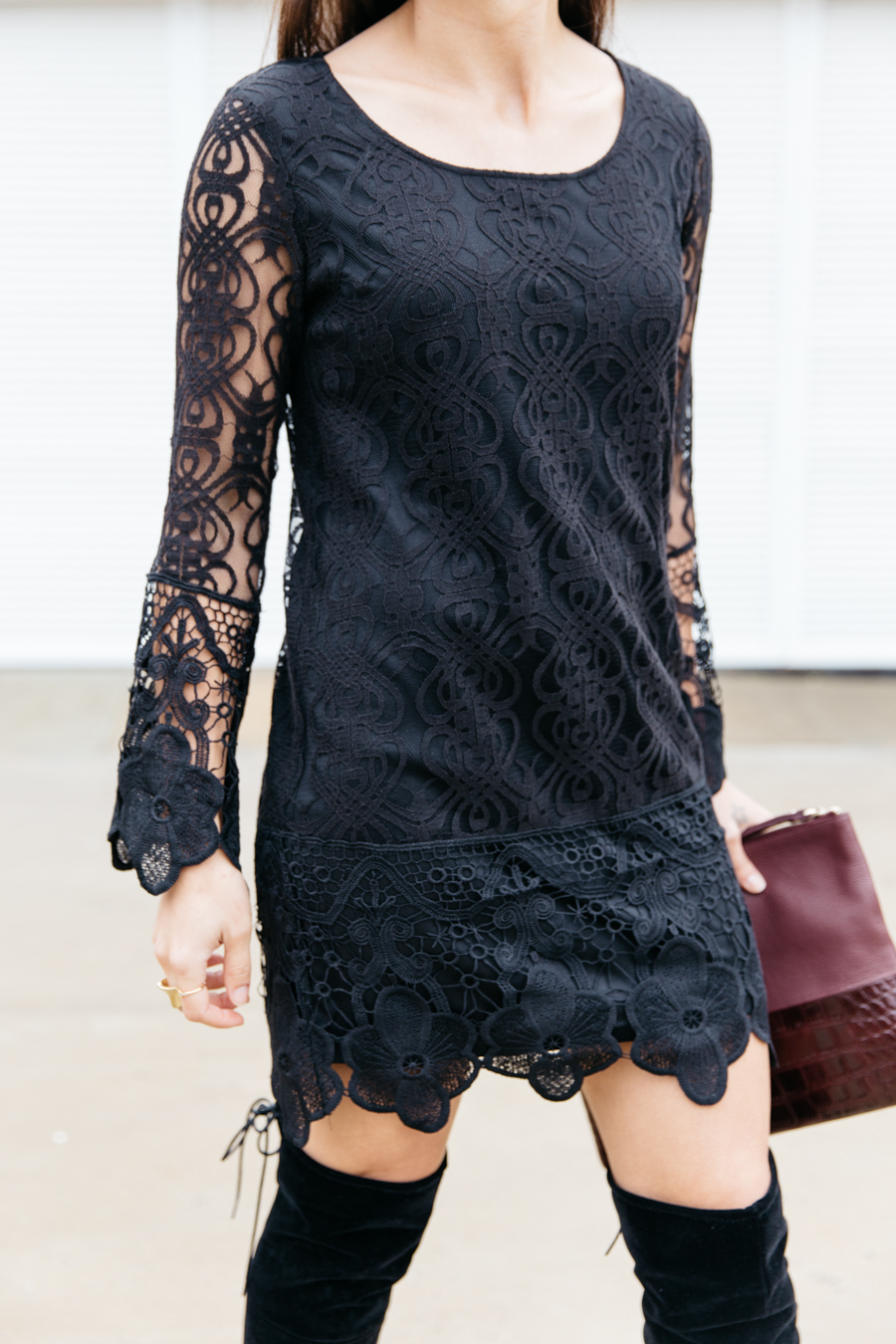 How to wear black lace & boots.