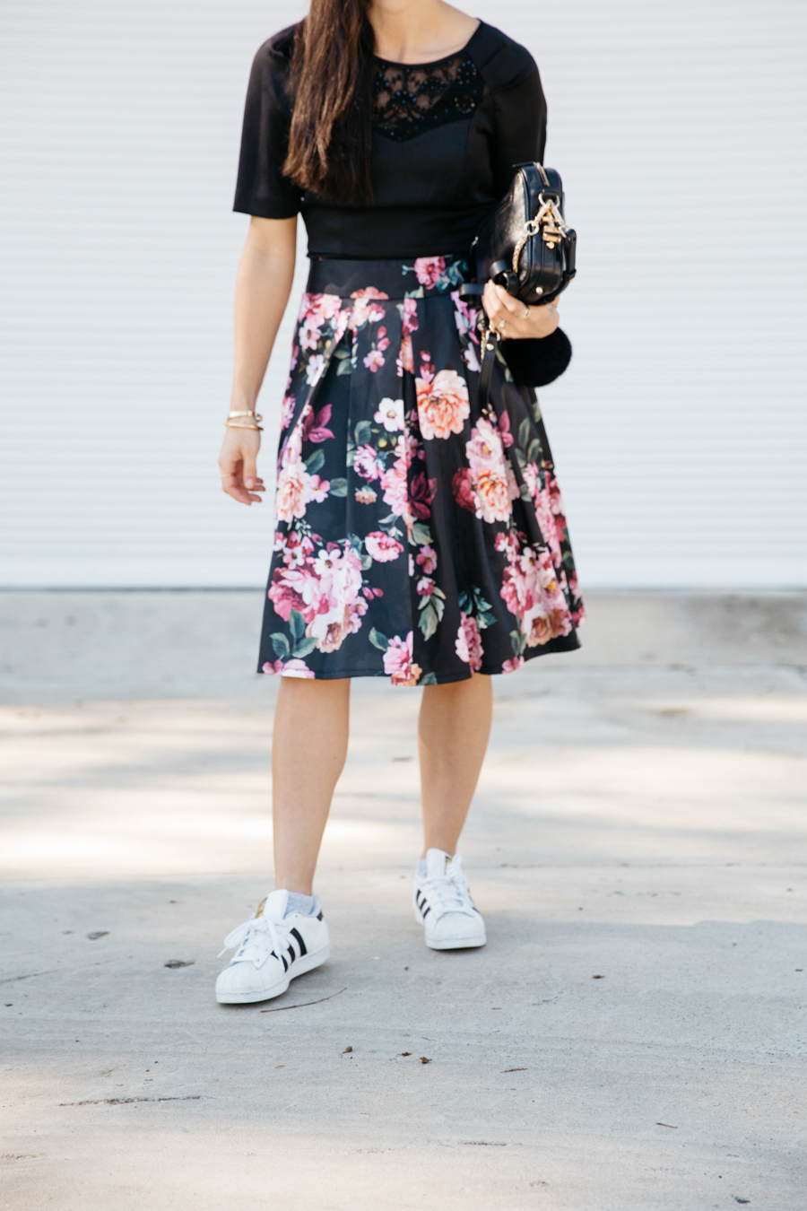 Review Australia floral midi skirt outfit.