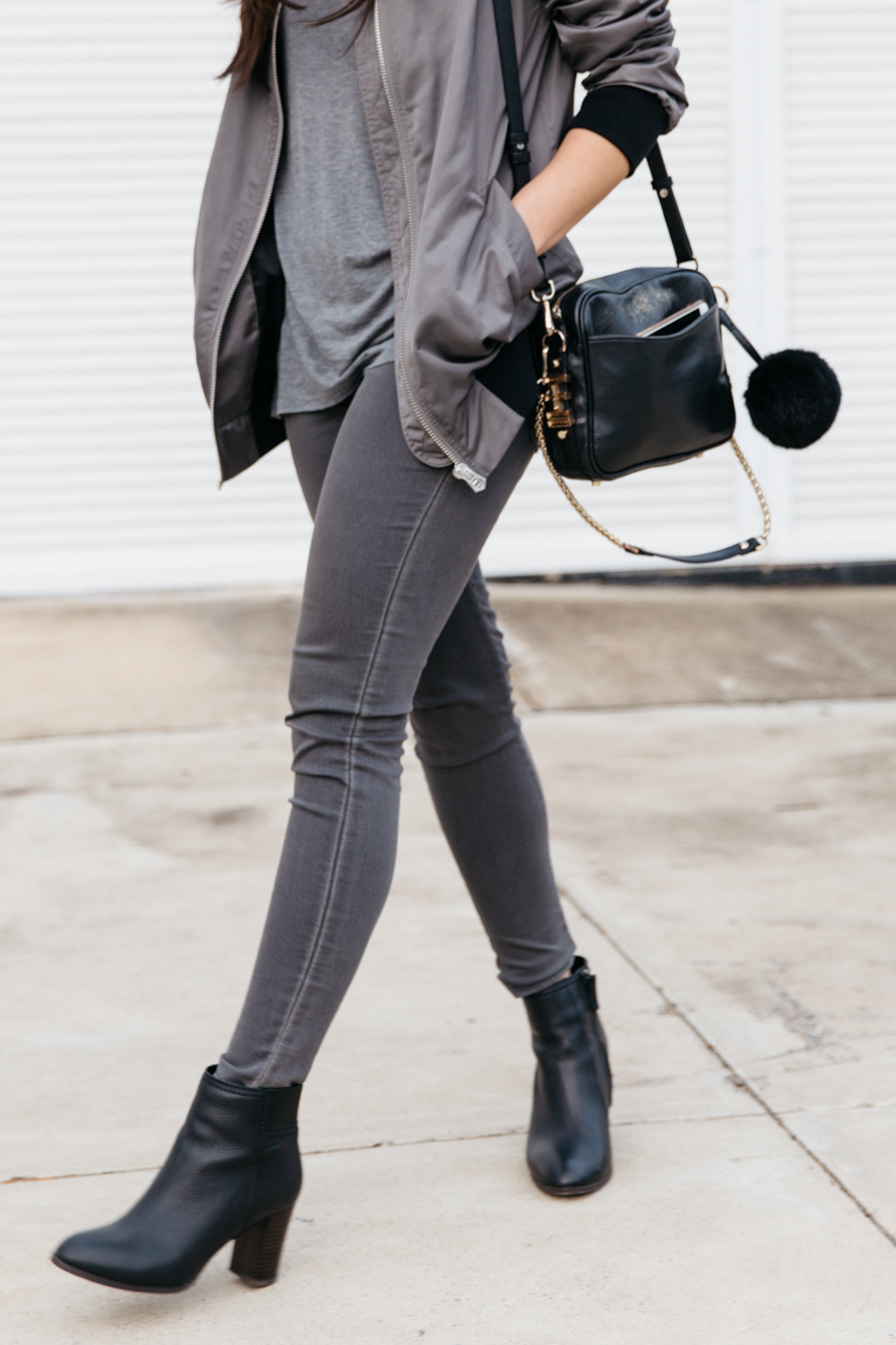 Australian fashion blogger. All grey outfit.