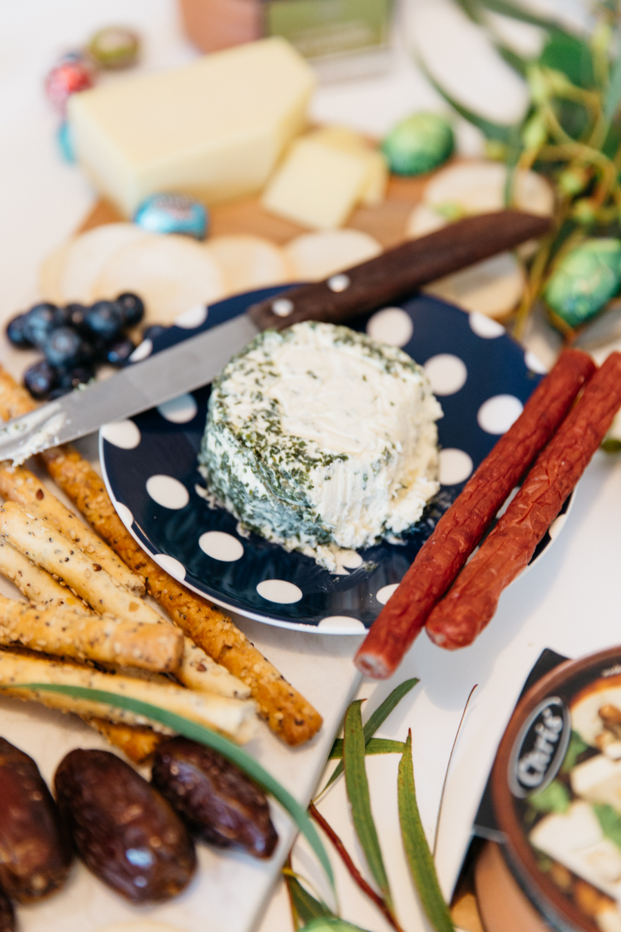 Chives cream cheese. Easter antipasto.
