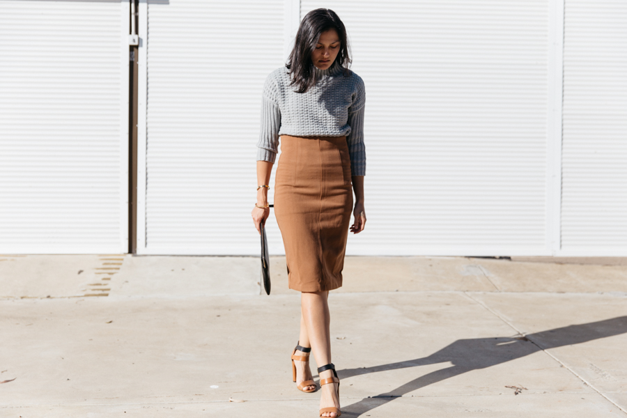 Brown pencil skirt with knit jumper outfit.