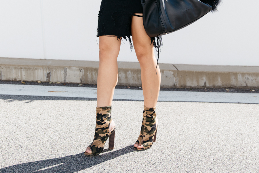 Camo print ankle boots. Camo print sock boots.