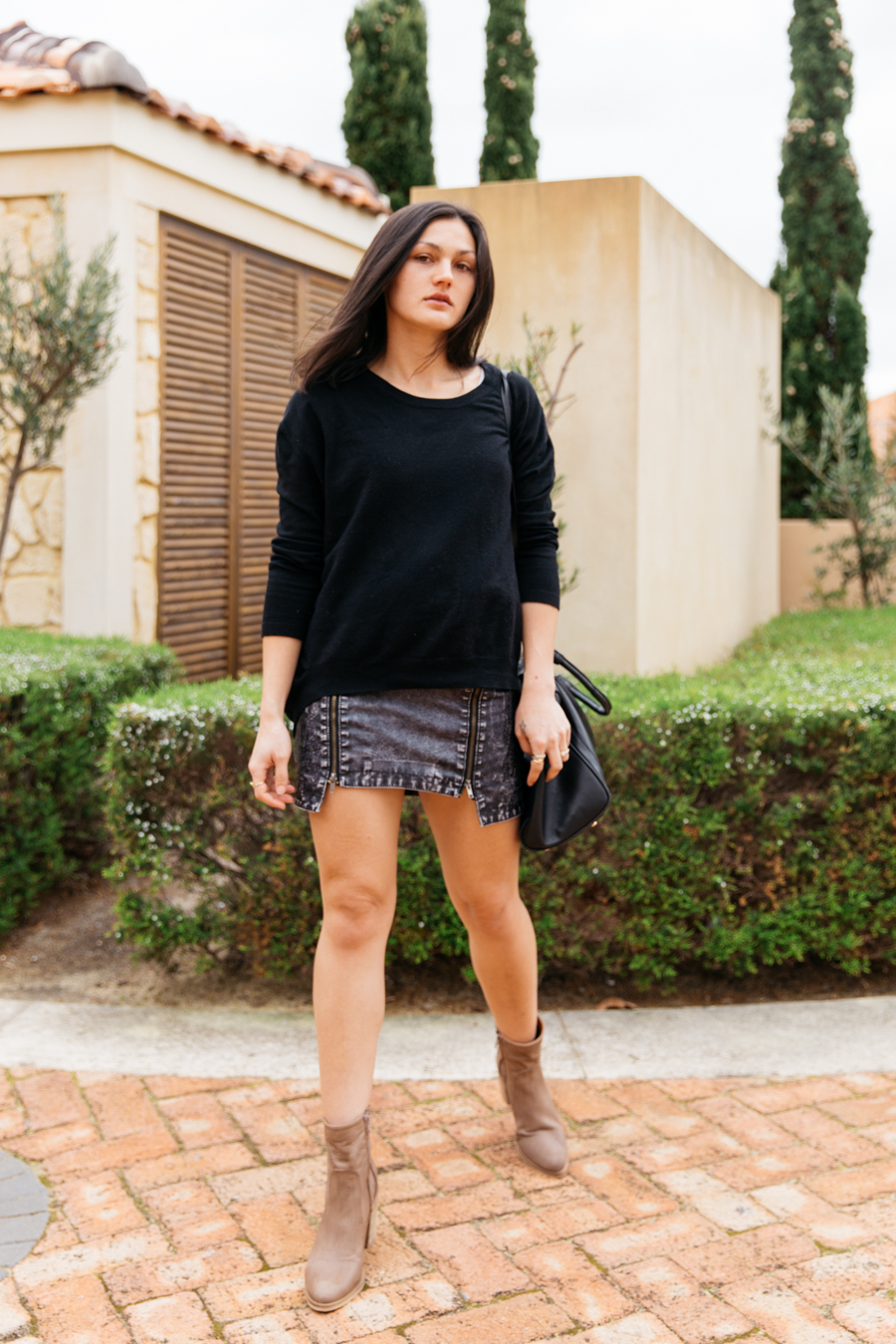 Autumn outfit with leather boots.