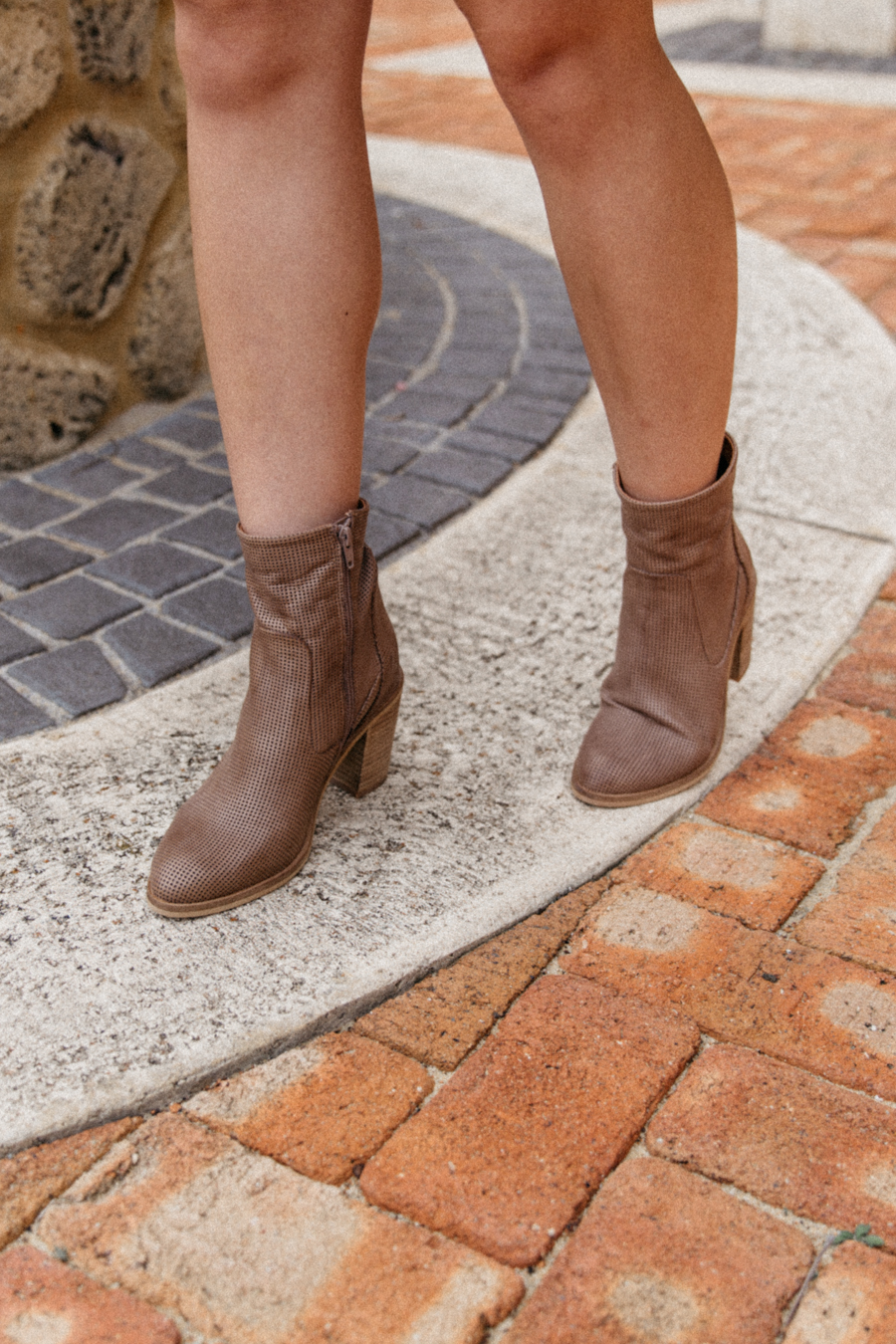 Taupe leather boots.