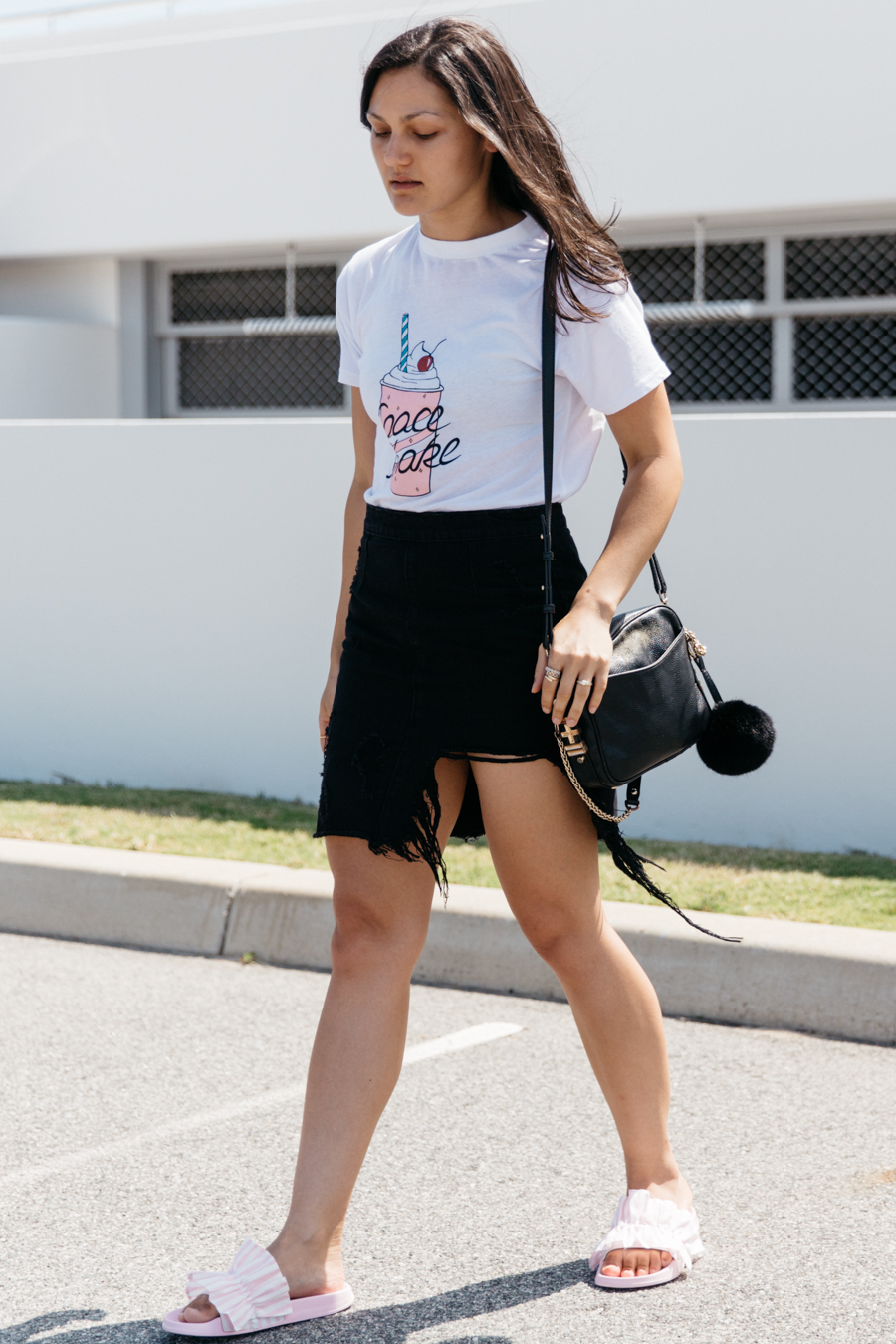 Space shake graphic tee outfit.