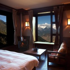 The well-appointed rooms at Songtsam Meili come with breathtaking views of Kawagebo Peak's east face
