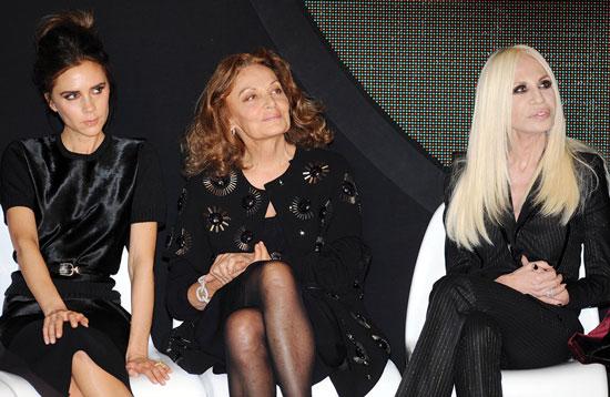 From left, Victoria Beckham, Diane Von Furstenberg and Donatella Versace attend  the International Woolmark prize grand final during London Fashion Week Fall/Winter 2013/14