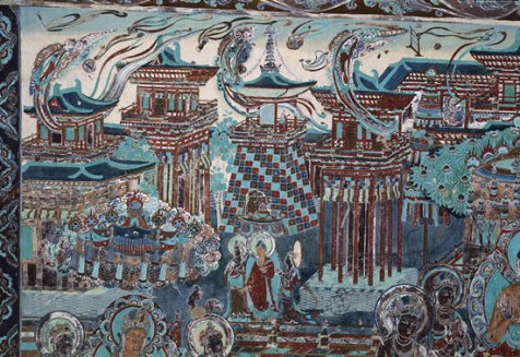 A representation of the Western Pure Land of Amitabha Buddha on a mural in Mogao cave 217, (High Tang, 705-781AD)