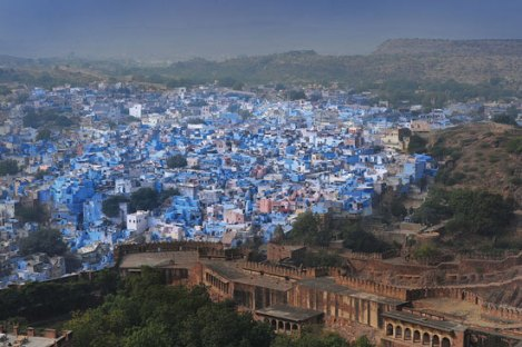 The blue city of Jodhpur seen from the Mehrangarh Fort where His Highness Gaj Singh's family began their reign almost one thousand years ago