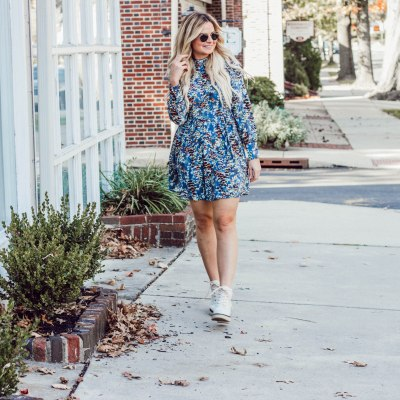Printed Dress and Combat Boots