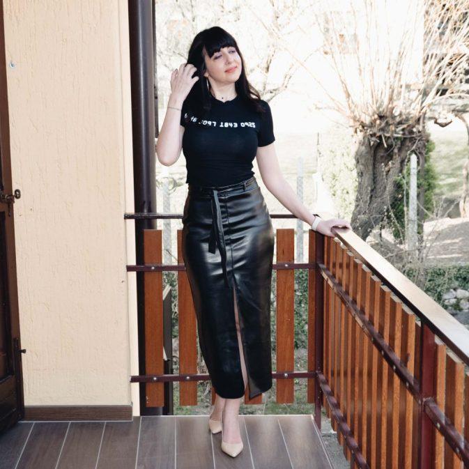 Come indossare una gonna in pelle a vita alta - The Fashion Cherry Diary