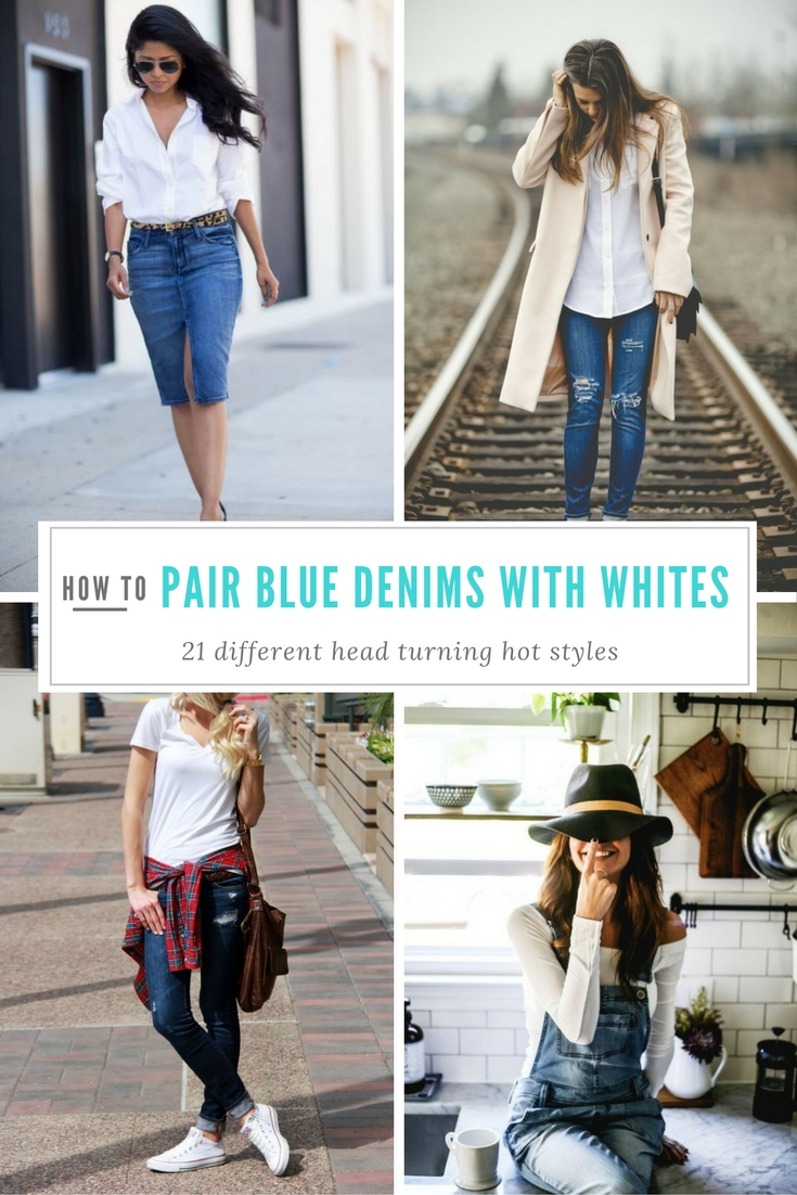 ways to pair blue denims with whites