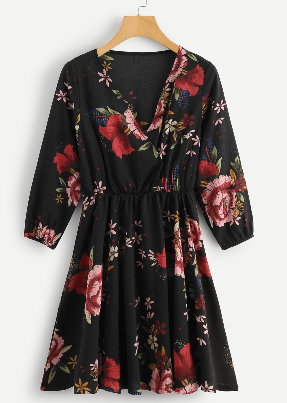 Floral Wrap Puff Sleeve Dress