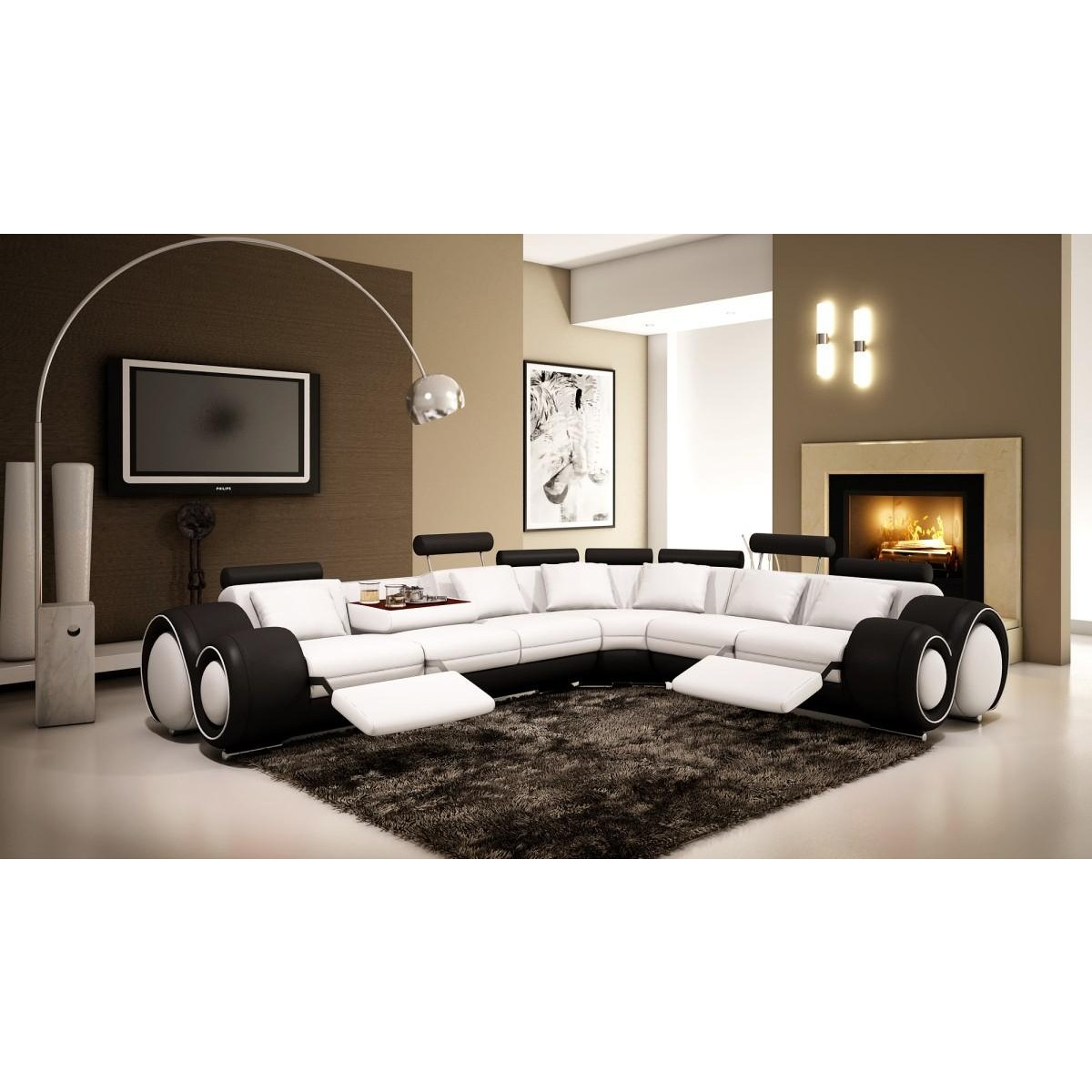 4087 modern bonded leather sectional sofa with recliners compact sleeper contemporary and luxury furniture living room bedroom la