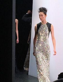 A gold shimmer dress from Carmen Marc Valvo